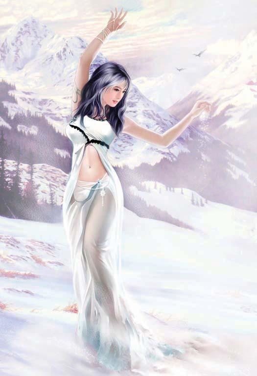 рисунок девушки красками в полный рост PrimaLoft, которые
