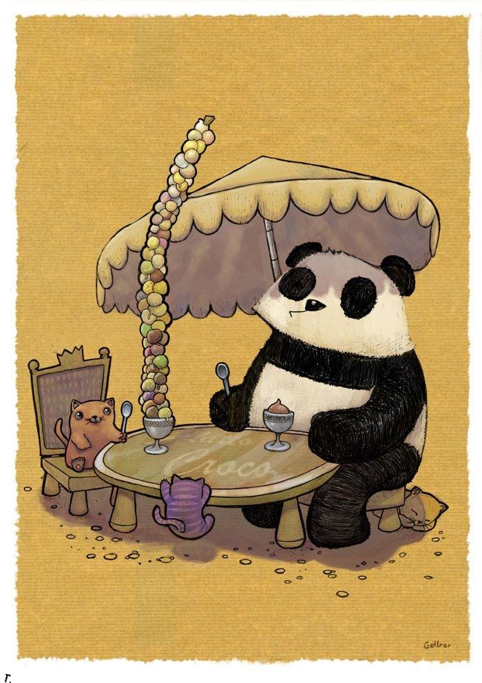 Картинки открытки, панда рисунок смешная