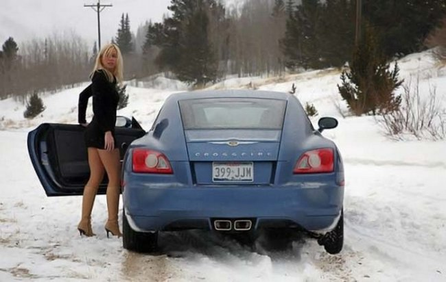 Девушки за рулем зимой