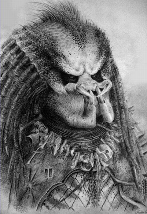 картинки хищника карандашом