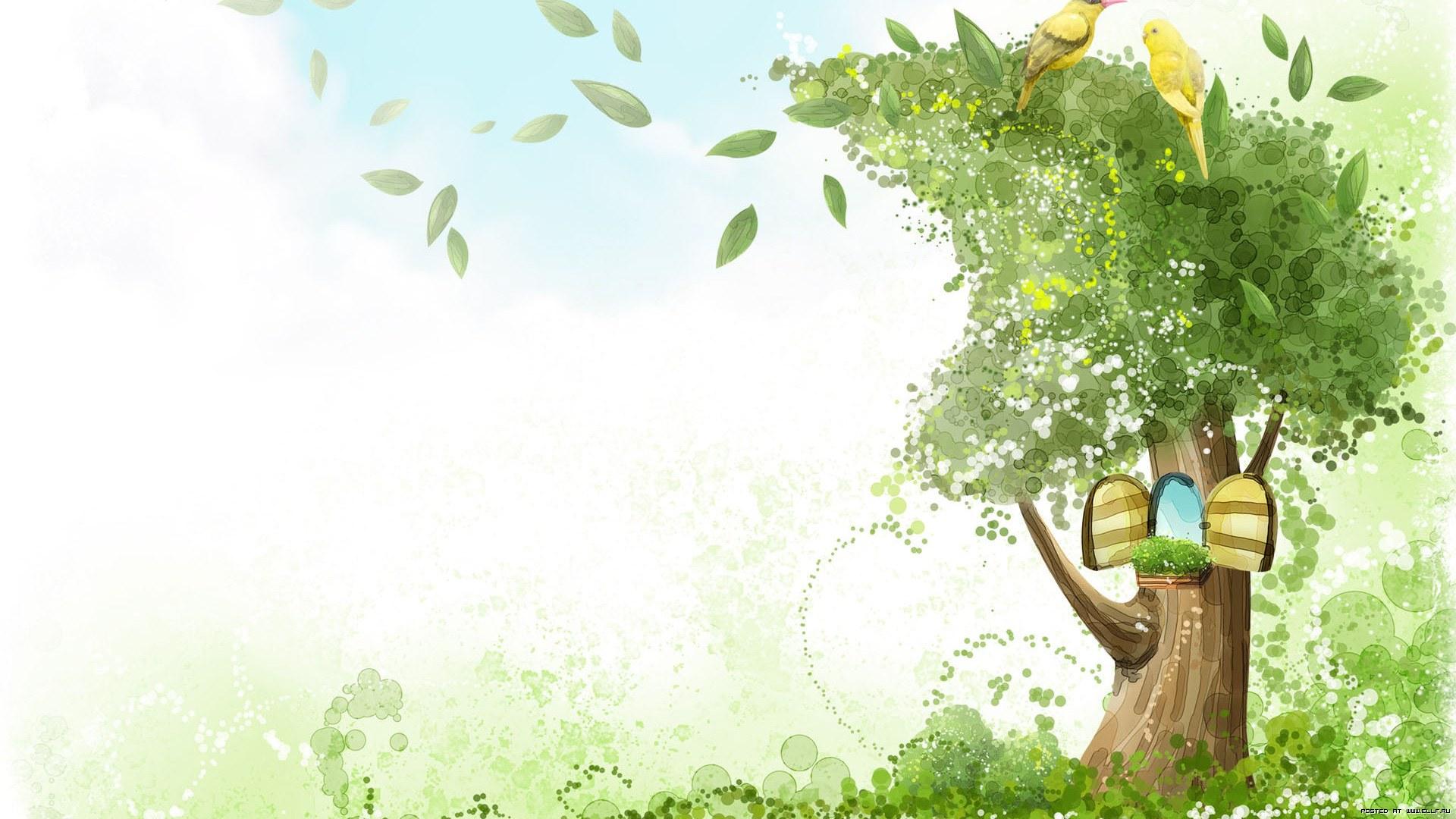 Рендеринг рисунок, дерево, птицы, попугаи, дупло, створки, ветер