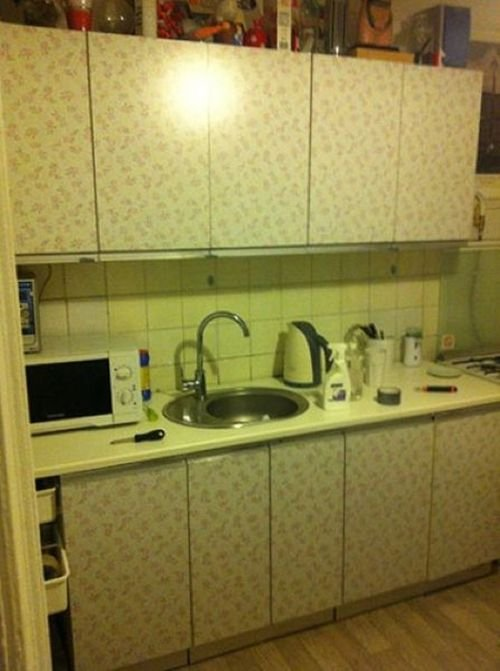 Как обновить старый кухонный гарнитур своими руками фото
