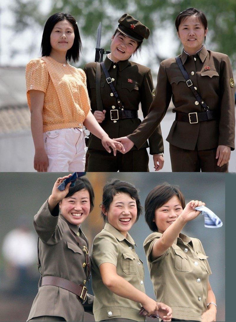 Девушки из Южной и Северной Кореи