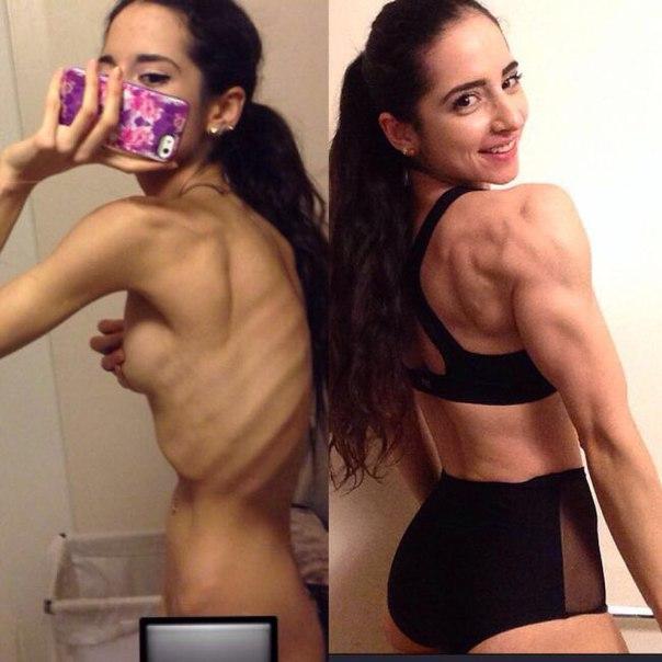 Вылечившаяся от анорексии девушка, занялась бодибилдингом