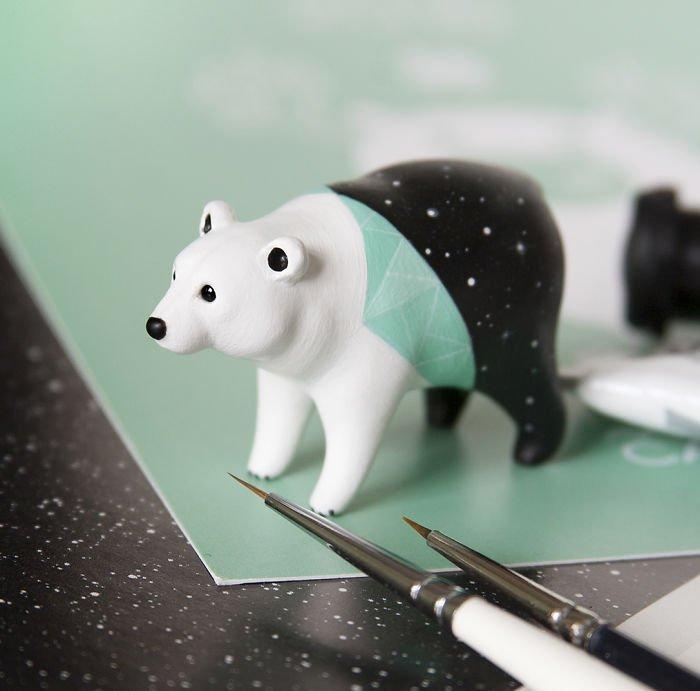 Маленькие скульптуры животных из полимерной глины