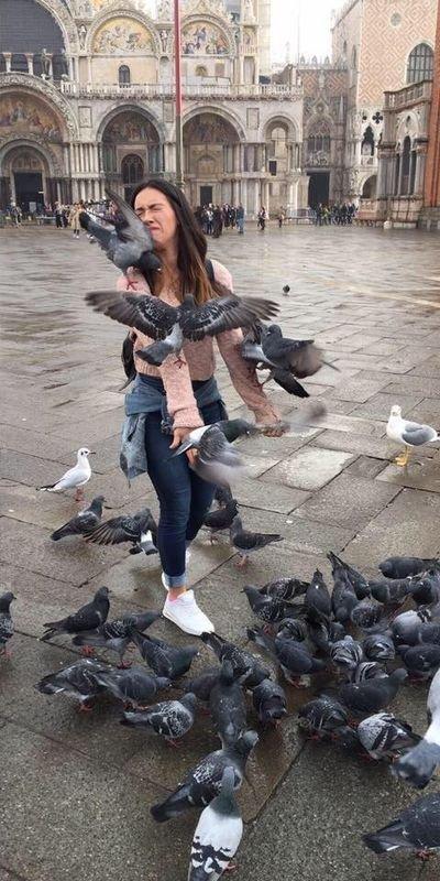 Девушка решила сделать классное фото с голубями