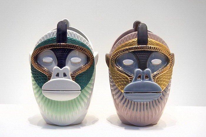 Вазы-головы обезьян - работы Elena Salmistraro