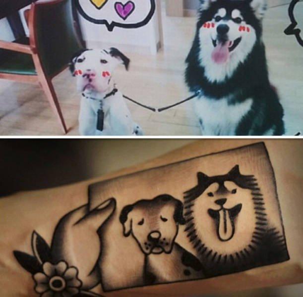 Татуировки с изображением домашних питомцев