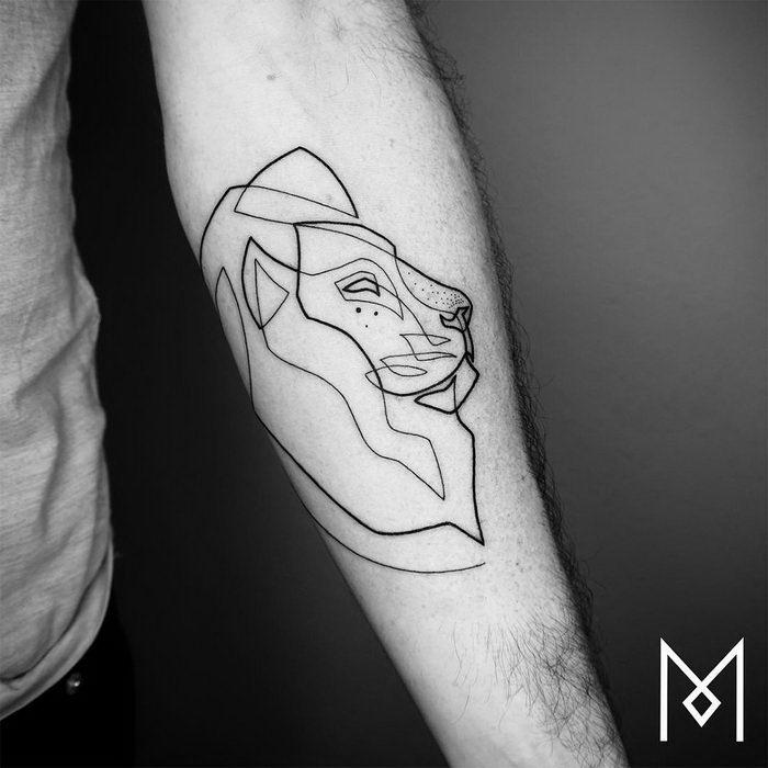 Татуировки в одну линию - работы Mo Ganji