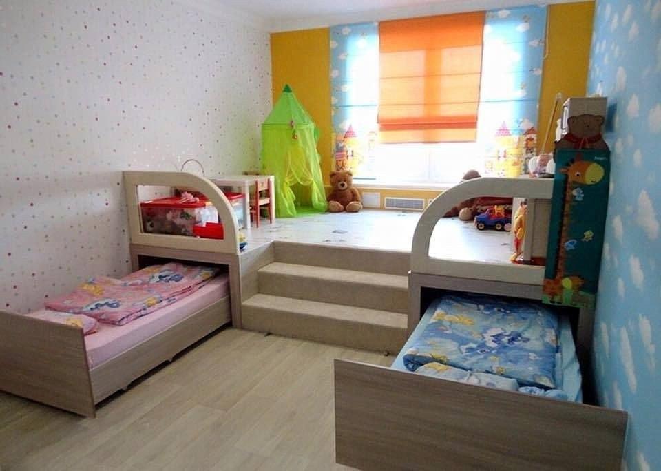Подиум в детской комнате сэкономит пространство
