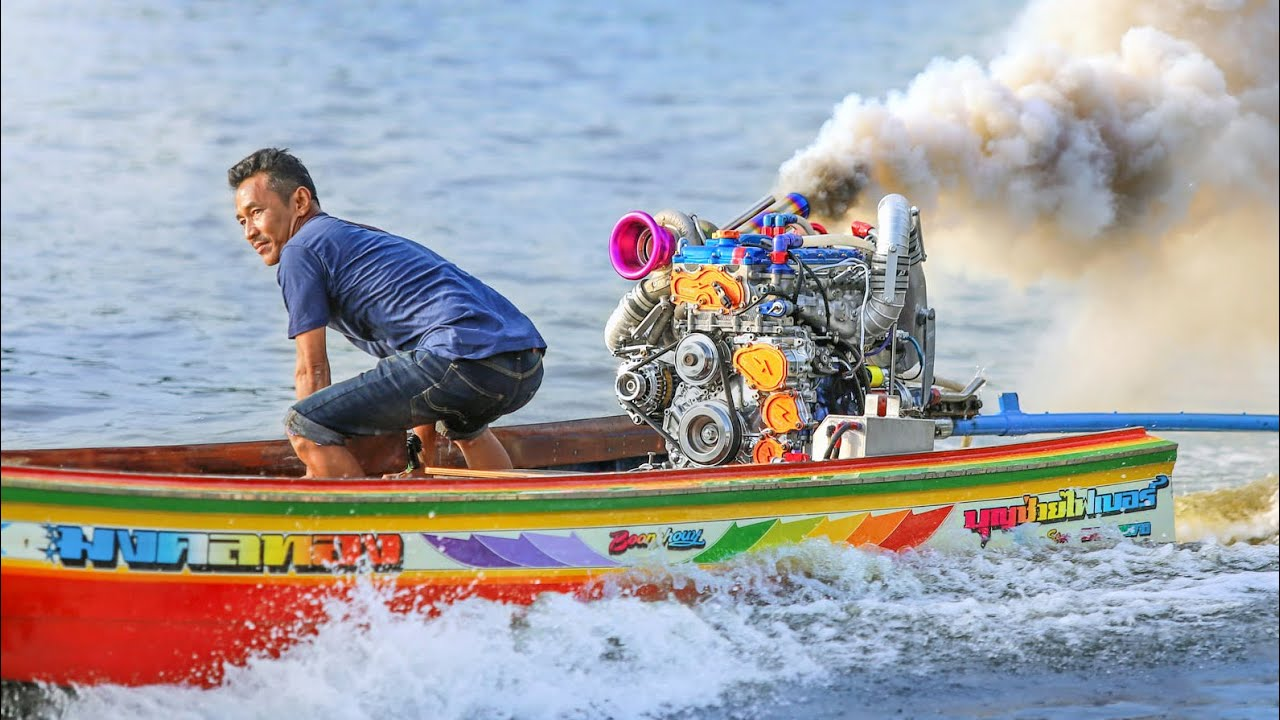 Турбо Лодки - Drag Racing Turbo Longtail Thai Riverboats in Bangkok