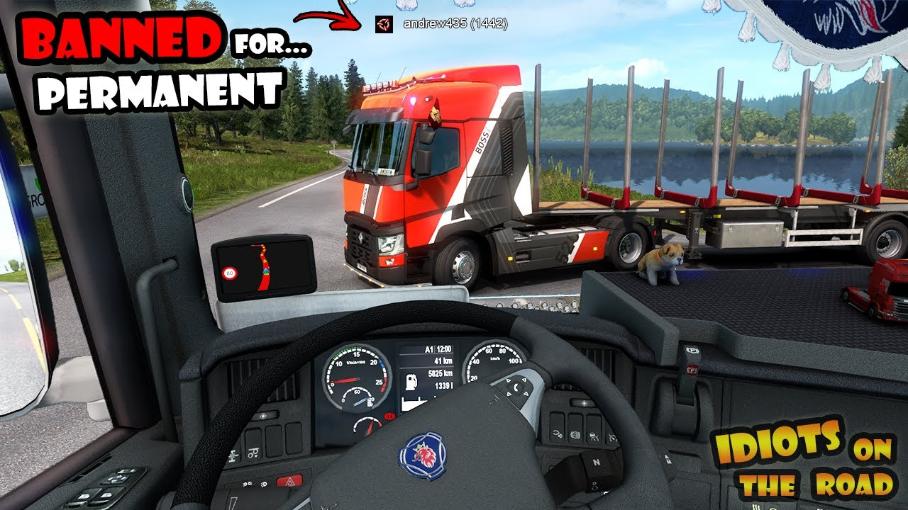 Смешные моменты Euro Truck Simulator 2: ★ IDIOTS on the road #78 - Permanent BAN For Cheating - Funny Moments ETS2MP - Fails&Wins