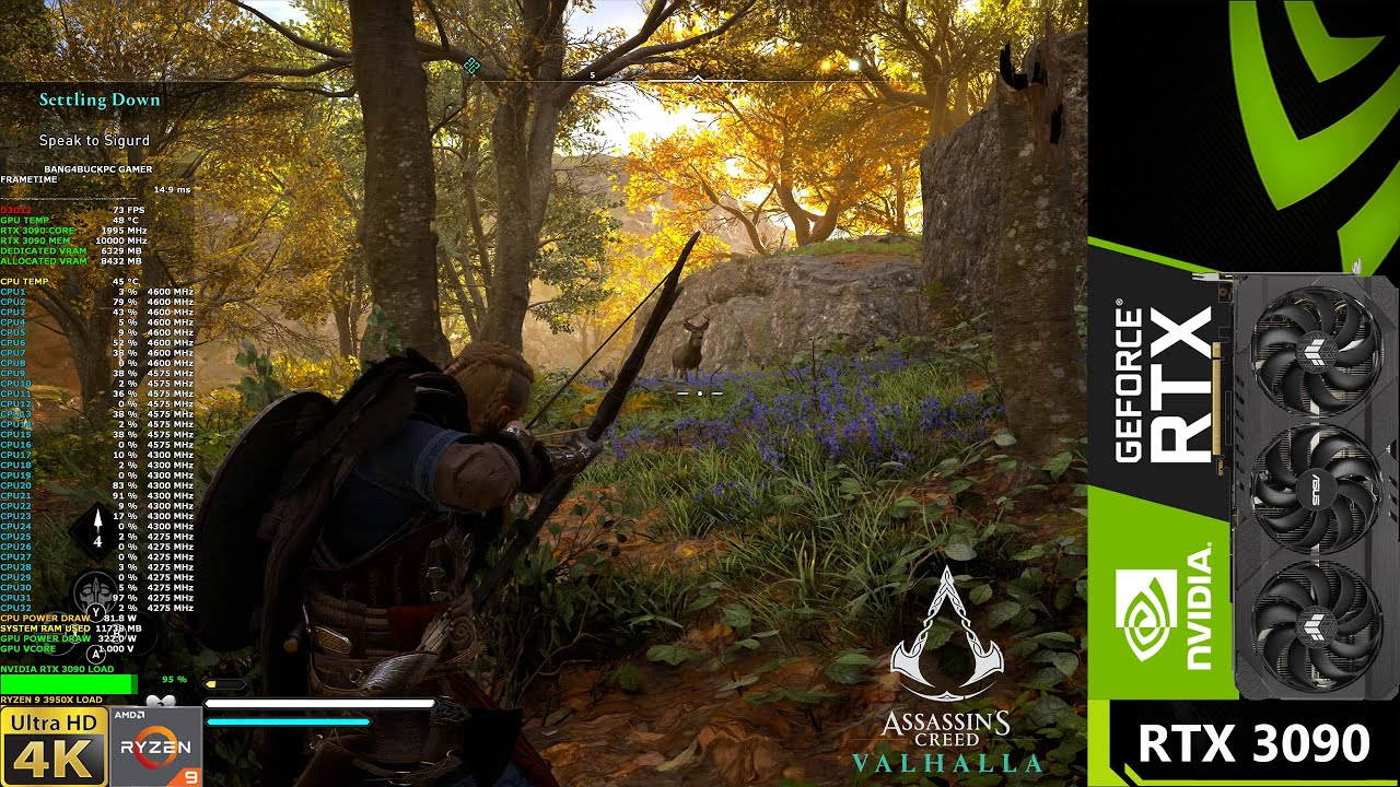 Assassin's Creed Valhalla Hunting and Exploring England 4K | RTX 3090 | Ryzen 3950X