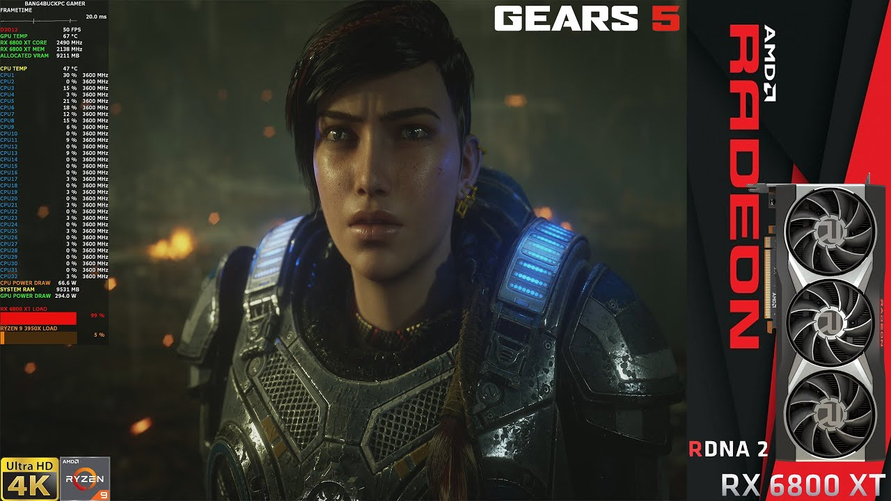 ФПС в ИГРЕ Gears 5 Ultra Settings 4K | RX 6800 XT | Ryzen 9 3950X